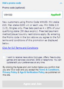wh100 promo code